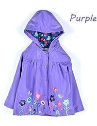 CRAVOG Chic Imperméable A Capuche Manteau De Pluie Bébés Mignon Poncho Jacket Manche Longue Imprimé Floral Enfant Fille