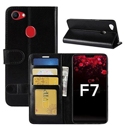 HualuBro Oppo F7 Hülle, Retro PU Leder Leather Wallet HandyHülle Tasche Schutzhülle Flip Case Cover mit Karten Slot für Oppo F7 Smartphone - Schwarz