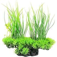 Rocita Artificial Acuario Plantas de Seda Decoración de Acuario Ornamento Decoración de Hierba Para Tanque de Pescado (Verde)