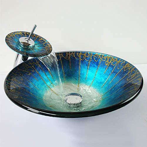 Gehärtetes China Artistic Handmade Waschbecken aus Glas Waschbecken aus Glas Aufsatzwaschbecken Waschbecken aus Glas Waschtisch blau -