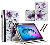Tablet Tasche für Acer Iconia One 7 (B1-7A0) Schutz Hülle Etui Case + Touch Pen - 7 Zoll Lila Blumen 360˚