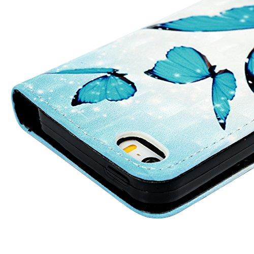 Badalink Hülle für iPhone 5 / iPhone SE Buntes Rosa Blume Handyhülle Leder PU Case 3D Cover Magnet Flip Case Relief Glat Schutzhülle Kartensteckplätzen und Ständer Handytasche mit Eingabestifte und St Blauer Schmetterling