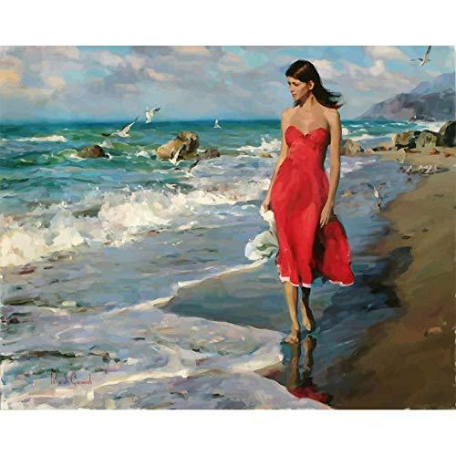 CoorArt Malen nach Zahlen Erwachsene Kinder, DIY Ölgemälde, Frau im roten Kleid am Meer - 40x50cm (Kleider Juniors Arbeit)
