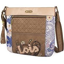 LOIS - BOLSO Bolso de mujer bandolera ajustable. Forro estampado y bolsillo interior. Bolsillos exteriores delante y detrás con cremallera. LLavero.