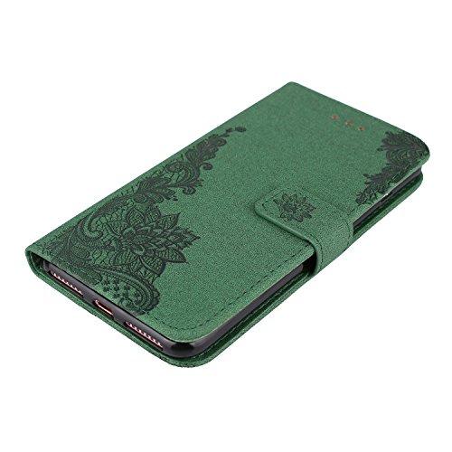[5.5] BtDuck Cover per iPhone 7 Plus,Cover per iPhone 8 Plus,Glitter Luccichio Modello Ultra Slim Cover Portafoglio Stile Semplice Flip Magnetica Custodia Pelle per iPhone 7 Plus/6S Plus Morbido Sili 7 Plus/8 Plus 5.5-Verde