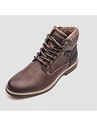 FMWLST Botas Botas De Moto Impermeables De Encaje para Hombres Zapatos De  Invierno Cálidos Y Cómodos De PU para Hombres 1b3d6a87d6a