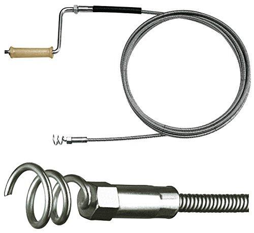Rohrreinigungs-Spirale Ø 10mm mit Trichterbohrer und Holzkurbel, mit optionalen Verlängerungen, Rohrreinigung in Fallrohr, Regenrohre, Bodenabflüsse, Drainagen, etc.