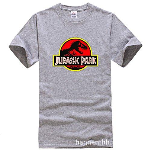 BOMOVO Herren T-Shirt Jurassic Park Super Premium Von M L XL XXL Grau