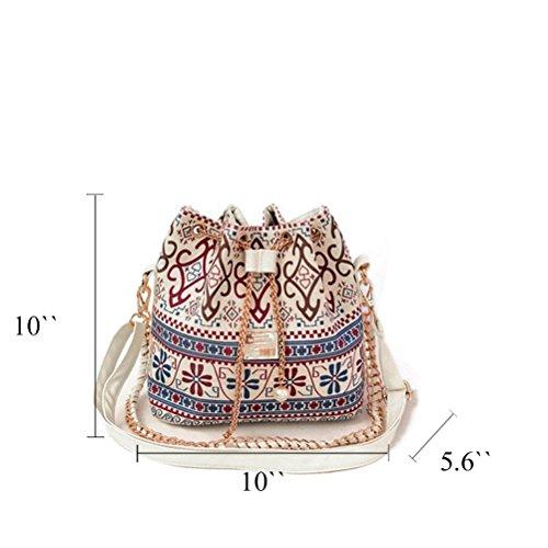 Honeymall Damen Messenger Bag Taschen Umhängetasche Canvas Schultertasche Handtaschen Hobo Bucket Bag Schwarz Beige