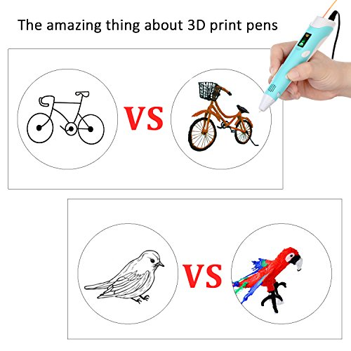 OBEST NIU 3D Drucker Stift,3D Pen 40-100℃ 3D Stift 3D Niedrige temperatur Stereoscopic Printing Pen Set mit LCD Bildschirm,5M 1.75mm PCL Filament,Intelligente Temperaturregelung USB Adapter für Kinder Drawing Freihand 3D Zeichnungen - 7