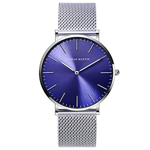 Hannah Martin Herren Blau Uhren Analog Quarz Edelstahl Armband Wasserdicht Mesh Ultradünne (Silber)