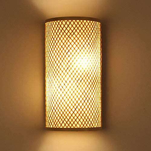 QLG&S Lámpara de Pared de bambú Simple Chino, Dormitorio Retro lámpara de Pared de la cabecera Pantalla Verde Adecuado para Sala de Estar Cocina iluminación 9.4 * 15.7in