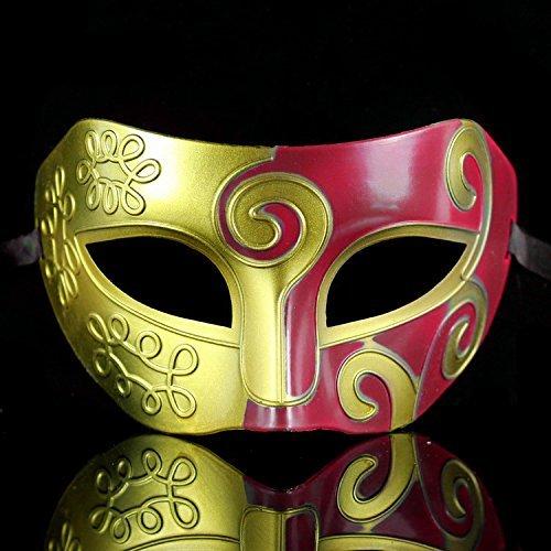 schen Herren Venezianischer Masken Halloween Kostüm Kleid Kugel Partei Maskerade Maske (Golden + rot) (Einfach Machen Herren Kostüm Für Halloween)