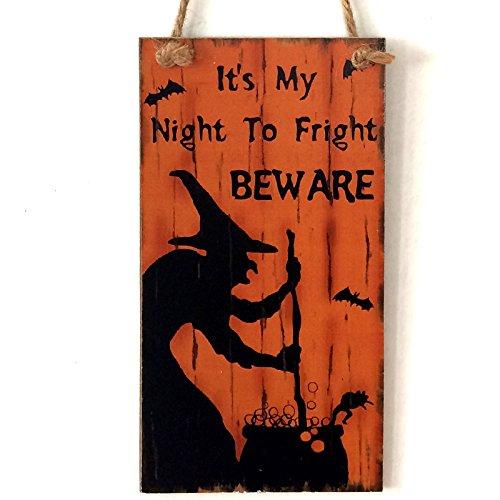 Hexe Wand Türschild von lintimes Holz Schild Türschild Wandschild zum Aufhängen Halloween Hotel Home Dekoration (Halloween Dekoration Schilder)