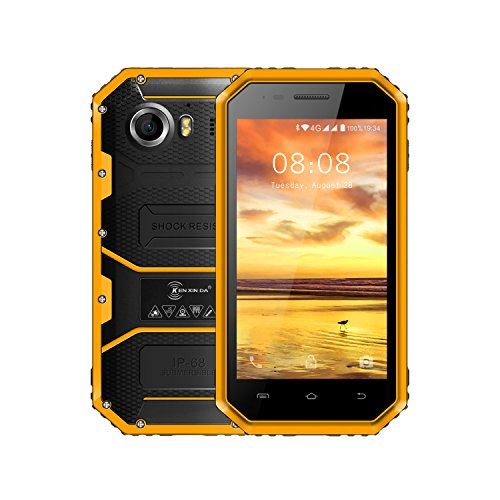 Preisvergleich Produktbild Smartphone Ohne Vertra, Kenxinda W6 4G Dual SIM Outdoor Handy( 4,5 Zoll Android 5.1 IP68 Wasserdicht/Staubdicht/stoßfest mobile phone, 1.5GHz Quad-Core, 1GB RAM 2600mAh Akku, Bluetooth 4.0) (Gelb)