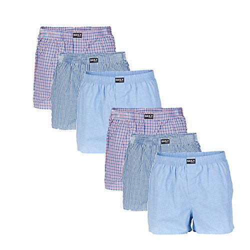 Daily Underwear Herren Webboxer Boxershorts 6er Pack, Größe:L;Farbe:Farbkombi 99/1