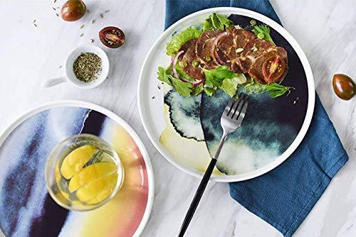 Serie Outdoor-ofen (Canju Küchengeschirr/Geschirr/Outdoor/Camping Geschirr Kreative Bone China Steak Dish Ink Serie Große Platte Pasta Dish Kuchen Snack Platte Westliche Platte,Aquarell)