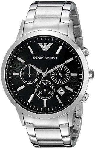 Armani Emporio AR2434 - Reloj de pulsera para hombre, negro / plata