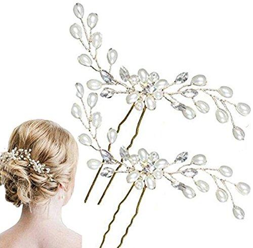 2pcs Damen Perlenrhinestone Haarclip/Hochzeit Brautschmuck/Braut Haar Zubehör Kopfstück/Hochzeit Zubehör