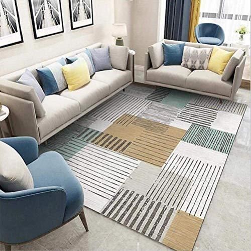 QYDF Home Bodenteppiche Kompakte Geometrische Nadelstreifen Patchwork Teppich Senf Gelb Blau Waschbar rutschfeste Wohnzimmer Soft Touch Designe,Grau,200x300cm