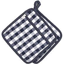 "Tela vaquera de algodón Neoviva acolchado resistente al calor manopla de cocina diaria, juego de 2, tela, Checked Navy, 8""x8""/20x20CM"