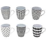 esto24 6er Set Landhaus Kaffeebecher Keramik 350ml in Schwarz/Weiß Design für Ihr liebstes Heißgetränk für Kaffee, Cappuccino und Latte Macchiato