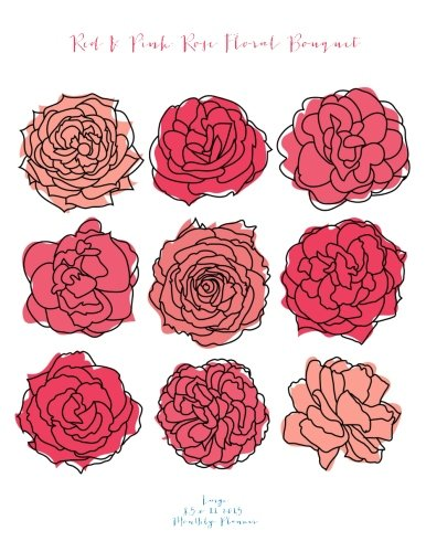 Red & Pink Rose Floral Bouquet Large 8.5 x 11 2015 Monthly Planner (2015 Day Planners, Organizers, Calendars) (Pink Planner Monthly 2015)
