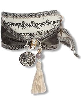 Anisch de la Cara Damen Wunsch-Armband - Wind Norbu - Achat tibetische Gebetsfahne weiss, ta-wind-norbu