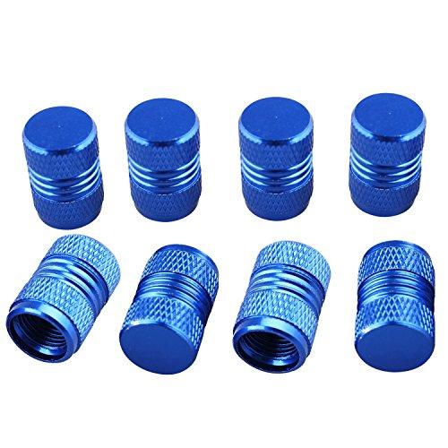Fushengda Staubschutzkappen aus Aluminiumlegierung, für Autoreifen, universal, für Autos, Metall, Ventilkappen, Autozubehör, Blau, 8 Stück