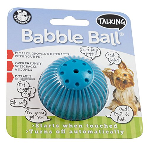 Pet Qwerks Talking Babble Ball Interactive Pet Toy – Wisecracks & Makes Funny Sounds, Electronic Ball that Talks & Makes Noises – Avoids Boredom & Keeps Your Dog Active