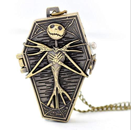 Schädel Knochen Albtraum vor Weihnachten Pocket Quarzuhr Halskette Kette -