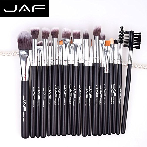 ESAILQ 20 Pcs Makeup Brush Kit Wood Professional Cosmetic Set Foundation Brush Powder Brush Eyeshadow Brushes Noir (Noir)