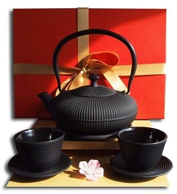 Service à thé avec théière, dessous de théière, tasses et soucoupes Noir 0,8 l