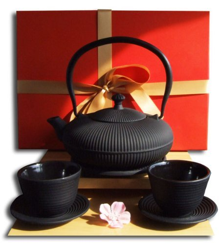 Gifts Box - Cups Trivet & Tetsubin Cast Iron Zen Mountain black teapot kettle 0.8 litre Japanese style by Gifts Of The Orient Tetsubin-cup