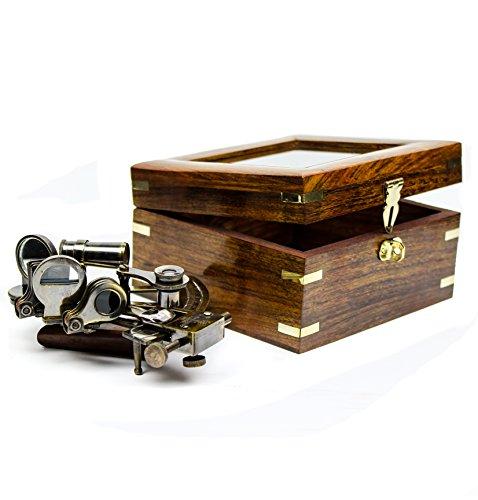 Sextante naútico en elegante caja de madera y cristal
