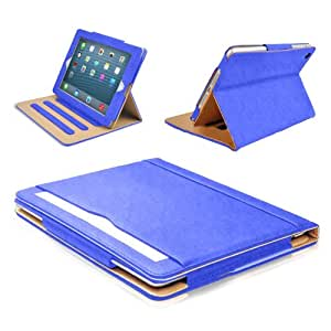 MOFRED® Blue & Tan Apple iPad Air (2013-2014 Version) Leather Case-MOFRED®- Executive Multi Function Leather Standby Case for Apple iPad Air with Built-in magnet for Sleep & Awake Feature