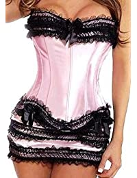 E-Girl mode Corset en dentelle détaillée,Rose