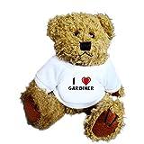 Oso de peluche con Amo Gardiner en la camiseta (nombre de pila/apellido/apodo)