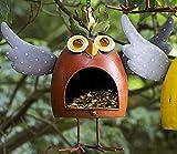 Vogelfutterhaus Crazy Owl orange aus Metall Figur Gartenfigur Vogelhaus