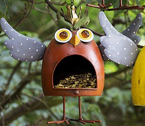 Vogelfutterhaus Crazy Owl pink aus Metall Figur Gartenfigur Vogelhaus