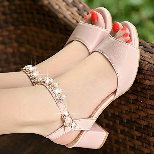 Lgk & Fa Sandales Sandales Épaisses Sac Imperméable À L'eau Avec Des Chaussures De Bouche De Poisson 38 Rose Post 41 Rose Avec De L'argent