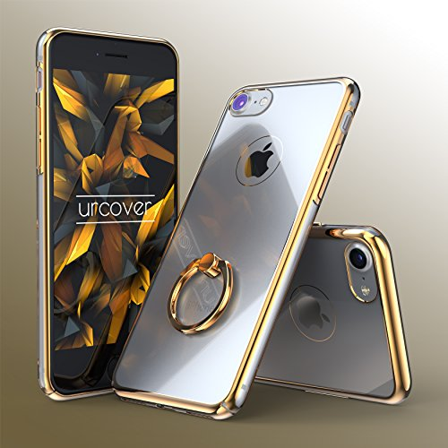 Urcover® Apple iPhone 7 Plus / 8 Plus Schutz Hülle [ Mit Finger-Ring ] in Champagner Gold Hard Back-Case Cover für perfekte Selfies Fingerschlaufe Etui Champagner Gold