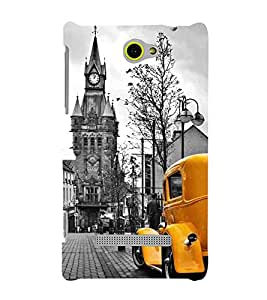 For HTC Windows Phone 8S :: HTC 8Svintage image, vintage Images with yellow car, yellow car Designer Printed High Quality Smooth Matte Protective Mobile Case Back Pouch Cover by APEX