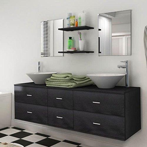 junhaofu 7-TLG. Badmöbel und Waschbecken Set Schwarz Möbel Möbelgarnituren Badezimmergarnituren