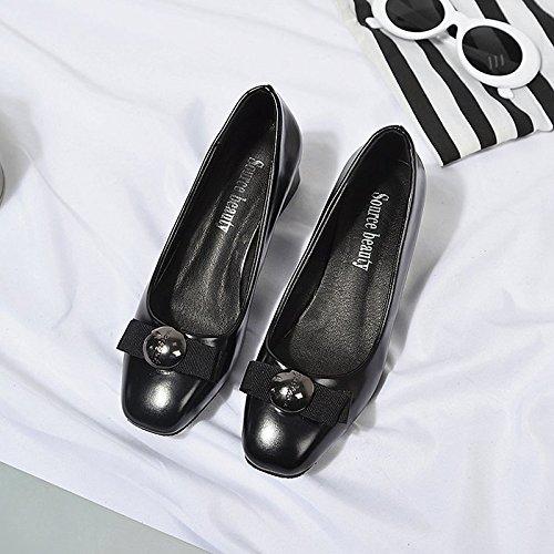 DIMAOL Scarpe Donna PU Comfort Molla di Blocco di Tacchi Tacco Punta Quadrata per Casual Khaki Nero Beige Nero