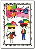 Einladungskarten Karneval Fasching Kindergeburtstag Jungen Mädchen - 10 Stück