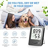 Habor Digital Thermometer Hygrometer, [Mini Style] Accurate Indoor Temperature and Humidity Meter Monitor with LCD Display for Home Office Comfort, Lifetime Replacement Guarantee (Black)