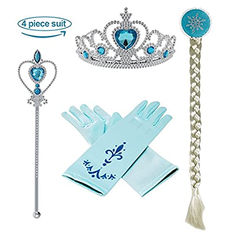 Vamei Princess Dress up Accessories - 4 Pieces Gift Set Tiara Crown Wig Wand Gloves Blue