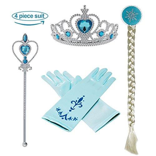 Vamei Prinzessin Dress up Zubehör - 4 Stück Geschenk-Set Tiara Crown Perücke Wand-Handschuhe Blau
