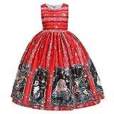 Baby Kinder Mädchen Weihnachten Kleidung Ärmellose Prinzessin Kleid Weihnachtsmann Schneemann Elch...
